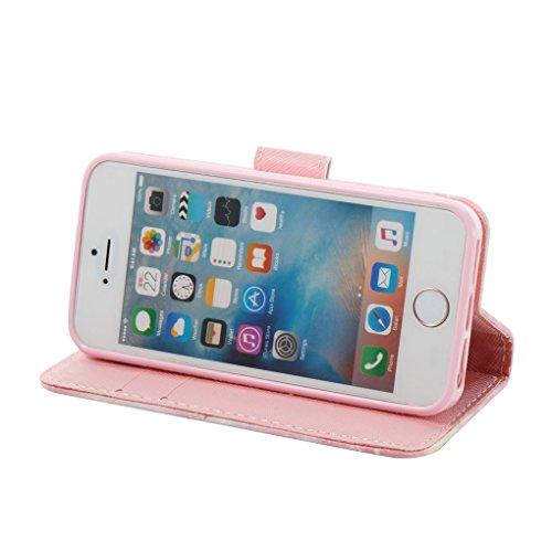 Apple iPhone SE 5 5S Hülle, SATURCASE Schönes 3D Muster PU Lederhülle Ledertasche Magnetverschluss Flip Cover Brieftasche Case Handy Tasche Schutzhülle Handyhülle Hülle mit Standfunktion Kartenfächer  Muster-1