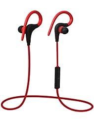 Casque Bluetooth casque sans fil, c'est Q10sistent écouteurs intra-auriculaires écouteurs intra-auriculaires antibruit Sport écouteurs pour Gym, Courir, jogging, Randonnée, d'exercice pour iPhone 6S Plus Samsung Galaxy S6S5et téléphones Android M Rouge