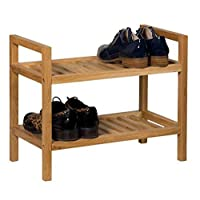 Hallowood Waverly Stackable Shoe Rack in Light Oak Finish Fits 6 Pairs