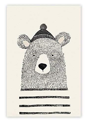 Niedliche Tier dekorative Malerei Kinderzimmer Wandkunst Bild Fox Bear Poster und Print Kinderzimmer Kunst für Baby Zimmer C 40x60cm - Fox-bild Baby