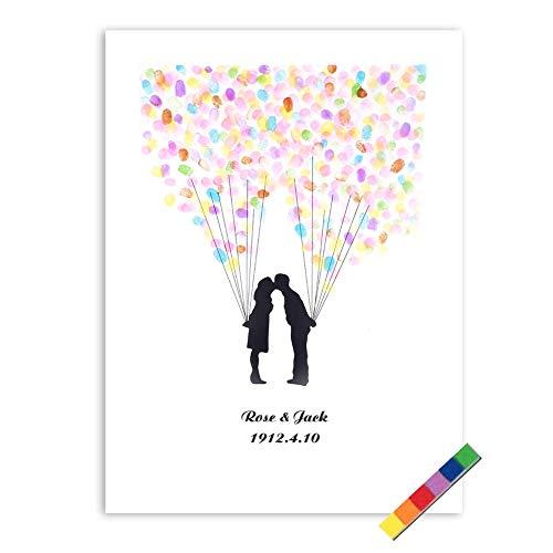 4 tipos árbol de la huella digital Libro de visitas de encargo de la boda Libro de visitas del libro de boda con la tinta de 6 colores ( Color : TYPE4# )