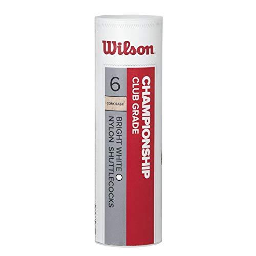 Wilson Badminton-Ball, Championship Shuttlecocks, 6-er Dose, 77 Grains, Weiß, Kunststoff/Naturkork, WRT6042WH77