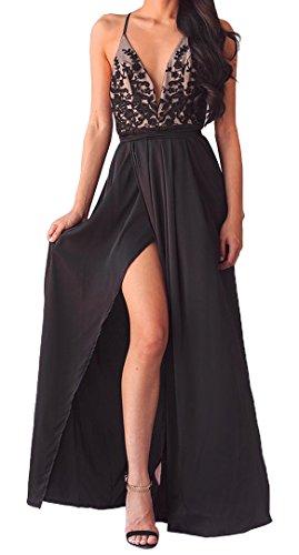 Sommer Damen Neckholder Kleid Fashion Schwarz Lange Kleider mit Schlitz Maxikleid Cocktailkleid...