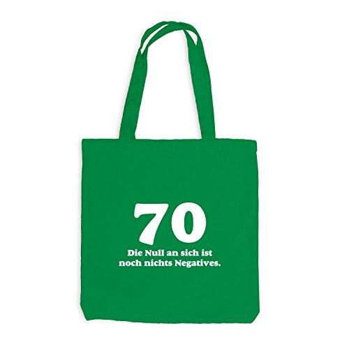 Jutebeutel - Geburtstag 70 Jahre - Die Null ist nichts negatives - Fun Geschenk Birthday Kellygrün