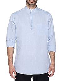 STOP to start by Shoppers Stop Mens Mandarin Collar Slub Shirt
