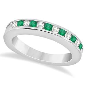 Allurez Semi-Eternity Emerald Wedding Band 14K White Gold (0.56ct) - T 1/2