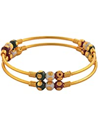 Zephyrr Fashion Gold Tone Bangle With Meenakari Beads For Women Pair