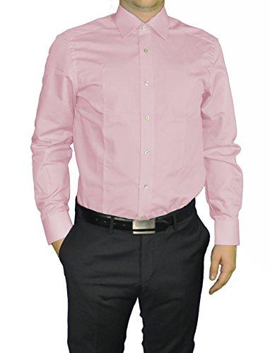 Redmond - Modern Fit - Herren Langarm Hemd in verschiedenen Farben, Unifarben, Bügelleicht (150110) Rosa(58)