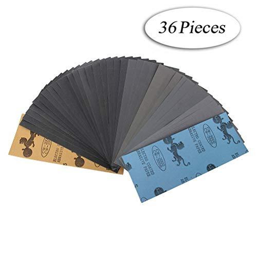 Lot de 36 papier a poncer, Papier Abrasif 230 x 93mm à Sec à l'Eau 400 600 800 1000 1200 1500 2000 2500 3000 4 Feuilles/Grain, 9 x 3,6 Pouces (Sandpaper36)