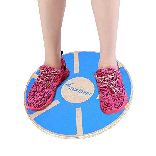 Sportneer Balance Board Holz Durchmesser 40cm Gleichgewicht Board- professionel für die Übung, Gym, Sport Performance Enhancement, Rehab, Ausbildung, Blau