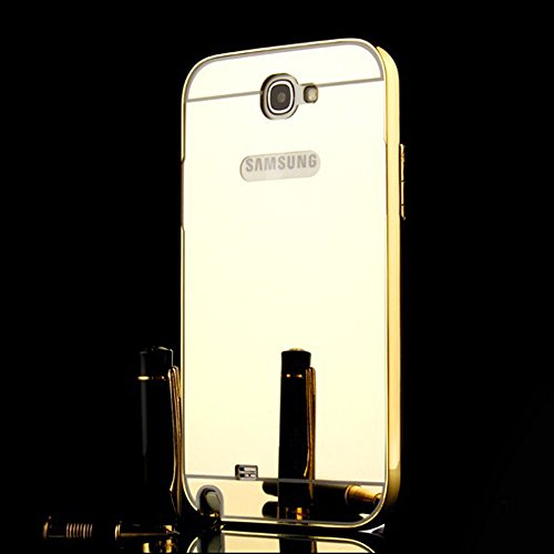 Heartly Premium Luxury Metal Bumper Frame With Acrylic Mirror Back Case Cover For Samsung Galaxy Note 2 N7100 - Hot Gold  available at amazon for Rs.369