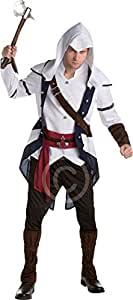 Onlyglobal Erwachsene Herren Halloween Party Assassins Creed klassisch Connor Maskenkostüm - Weiß, X-Large (46-48-Inch)