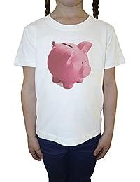 Cerdito Banco Blanco Algodón Niña Niños Camiseta Manga Corta Cuello Redondo Mangas White Girls Kids T-shirt