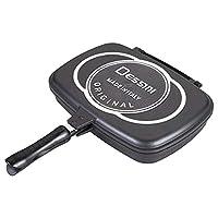 Dessini Two-Sided Double Grill Non-Stick Pressure Pan, 36 cm, Black, Aluminum