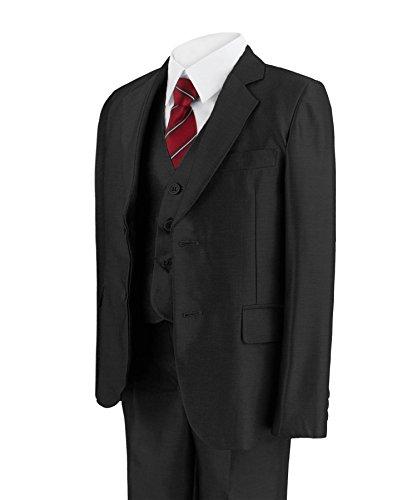 RAGAZZI 5 pezzo Abito lucido PARTY giacca pantaloni camicia gilet cravatta Nero