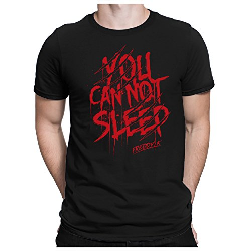 PAPAYANA - YOU-CAN-NOT-SLEEP - Herren Fun T-Shirt - Freddy Halloween Scare Blut Kürbis Jason - XL Schwarz (Lager T-shirt Schwarz)