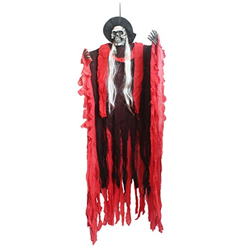 Zantec Halloween Props Animiertes Skelett Hanging Witch Ghost Voice Aktiviert Scary Spooky Halloween Haunted House Bar KTV Dekoration