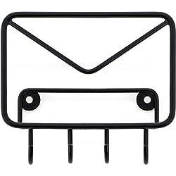 Bazardeluxe - Porta-posta e chiavi a muro a forma di busta da lettere, metallo, 4 ganci, colore: nero