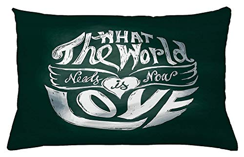 Pillow Cushion Cover, What The World Needs Now is Love Quote Lettering Art Circle Grunge Typography, Decorative Accent Pillow Case, 18 X 18 Inches, Dark Green White ()