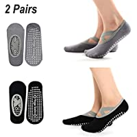 Hibbent 2 Pairs Women Yoga Socks Non-Slip Grips Pilates Dance Barre Fitness Anti-skid Dance Barre Socks Full Toe Ankle Fall Prevention Grip Socks (2 Pair Black&Grey) Size UK 2.5-7 / EU 34-41