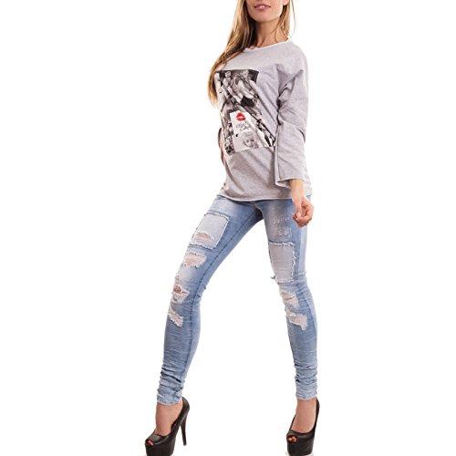 Toocool - Felpa donna maglia cotone maniche lunghe varie fantasie fiori diva nuova CC-1299 fantasia 2 grigio