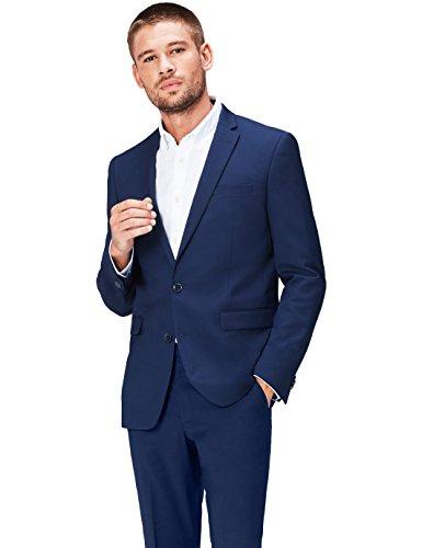 Navy Zwei-knopf-blazer-jacke (FIND Anzugjacke Herren Slim Fit, mit schmalem Revers, zwei Knöpfen und Brusttasche, Blau (Navy 200), 50 (Herstellergröße: M))
