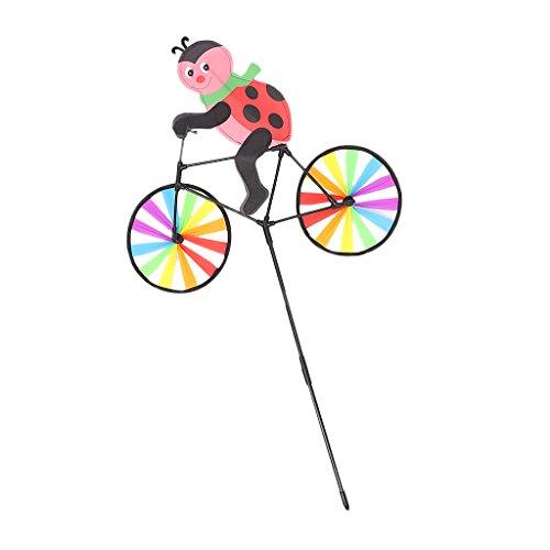 MagiDeal 3D Tier auf Fahrrad Windmühle Wind Spielzeug Whirlgig Garten Rasen Dekor - Marienkäfer
