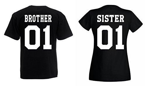 TRVPPY Partner Herren + Damen T-Shirts Brother & Sister, Herren S, Damen M, Schwarz