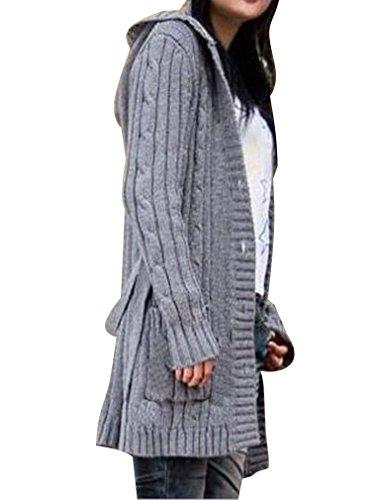 BININBOX® Damen Strickjacke lang mit Kapuze Grobstrick Cardigan Coat Strick Mantel Knit Pullover Knopfleister (Grau)