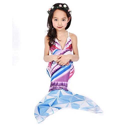 MARYYUN 3PS Mädchen Cosplay Kostüm Badenbkleidung,meerjungfrau Schwanzflosse Für Kinder,Kostüm-Set Für Kinder - Ideal Zum Schwimmen Und Tauchen - Mädchen Mermaid Tail Bikini Badeanzug - Tauchen Schwimmen Kostüm