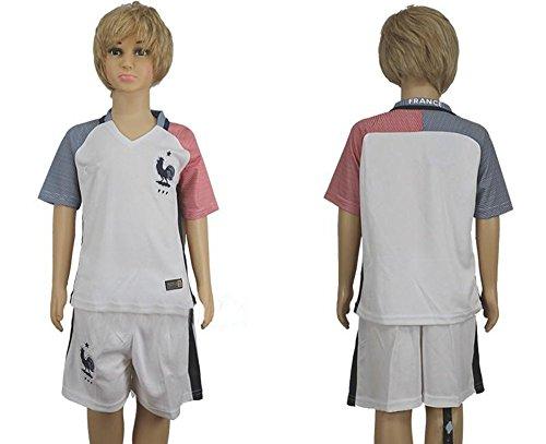 Top venta de la selección de Francia para niños Kid juventud fútbol Jersey en color blanco, Infantil, blanco, small