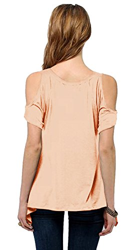 Urban GoCo Femmes Casual Grande Taille Hors épaule T-Shirt V-col Manches Courtes Tops nude rose