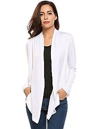HOTOUCH Femme Veste Ouverte Cardigan à Manches Longues Tops Fluide Asymétrique Noir Bleu Rouge Blanc S-XL