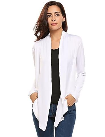 Manteau D Ete Femme Blanc - HOTOUCH Femme Gilets Asymétrique Cardigan Ouvert à