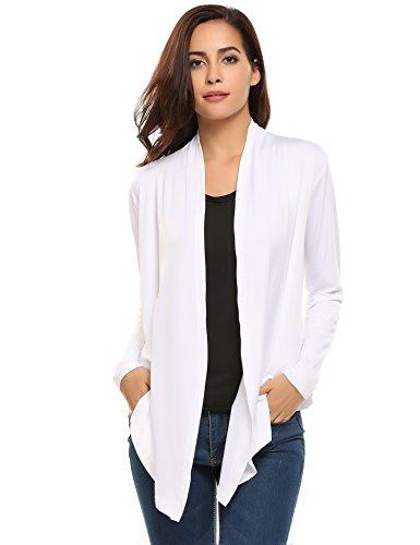 HOTOUCH Femme Cardigan à Manches Longues Gilet Ouvert Fluide Asymétrique S-XL Blanc