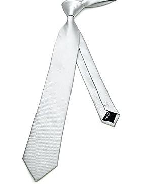 PenSee corbata 100% poliéster seda sólido rayas para hombre Skinny ties-various colores