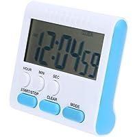 blau Jayron KT002 2-Kanal-Timer mit Uhr K/üchentimer Wecker Digitaler Minuten//Sekunden-Timer Schreibtischuhr Elektrische Uhr zum Kochen
