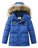 Mallimoda Jungen Daunenjacken Winterjacke mit Kapuze Kinder Lange Mantel Warm Wintermantel Blau 10-11 Jahre/Körpergröße 140-150