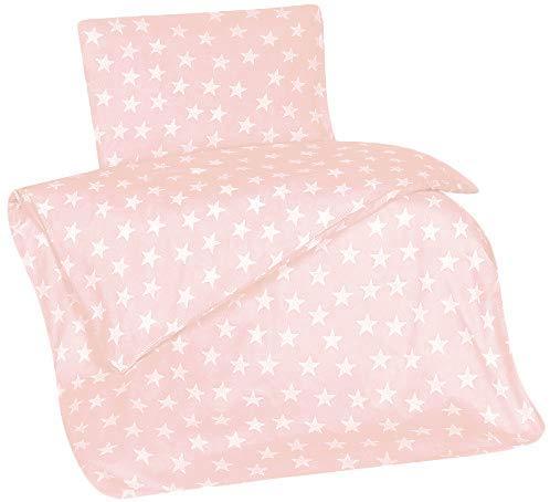 Aminata Kids Fein-Biber-Kinder-Bettwäsche 100-x-135 cm Stern-e Star Sternchen Baby-Bettwäsche 100-% Baumwolle Renforce alt-rosa Rose Weiss-e Mädchen Edel-Flanell