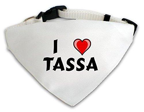 Personalisierter Weißer Hundschal mit Aufschrift Ich liebe Tassa (Vorname/Zuname/Spitzname)