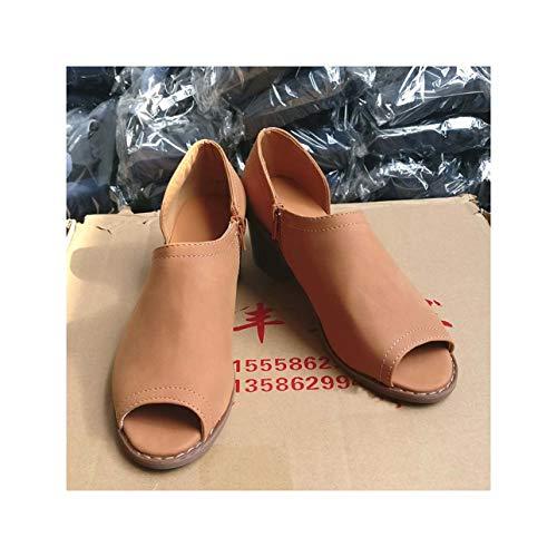 Summer Shoes Women Pumps Peep Toe Slip On Zip Faux Suede Side Cuts Chunky Block Low Heel Ankle Booties Womans Sandals Black 13 Faux Suede Peep-toe