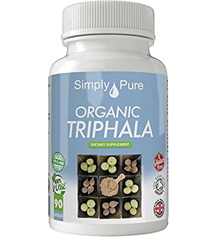 Organic Triphala 90x Capsules, 100% Natural Soil Association Certified, High Strength 500mg, Detox, Antioxidant, Gluten Free, Vegan, Exclusive to Amazon, Simply Pure, Moneyback Guarantee.