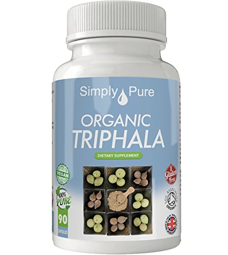 Organic Triphala Vegan Capsules x 90, 100% Natural Soil Association Certified, High Strength 500mg, Detox, Antioxidant, Gluten Free, Exclusive to Amazon, Simply Pure, Moneyback Guarantee. Test