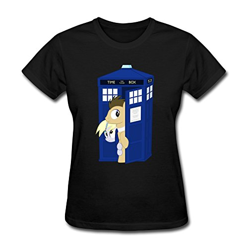 womens-funny-tee-my-little-pony-and-doctor-whooves-black-size-xl