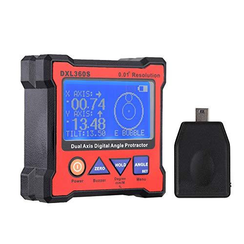 KKmoon Winkelmesser Digitaler LCD Neigungsmesser Inklinometer Wasserdicht Bevel Box Winkelmessgerät Wasserwaage mit USB Adapter 100-240V -