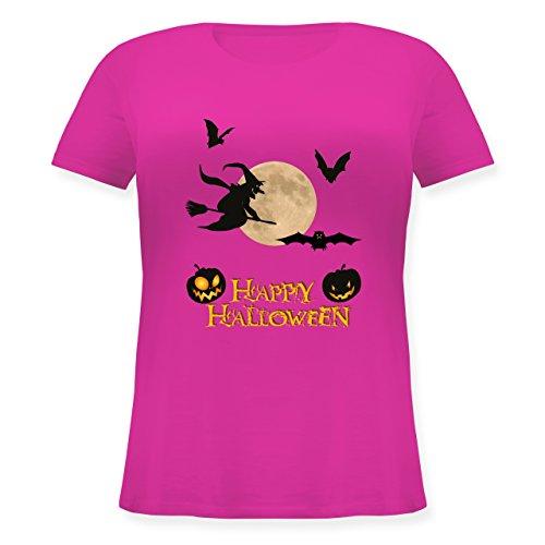 Halloween - Happy Halloween Mond Hexe - M (46) - Fuchsia - JHK601 - Lockeres Damen-Shirt in großen Größen mit Rundhalsausschnitt