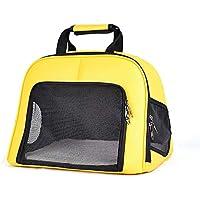 LEERAIN Mascota Bolso Gato Bolso Perrito Perro PortáTil Amarillo PU Suave Gran Capacidad Respirable Viajar Al Aire Libre 43 * 35 * 32 cm