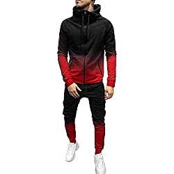 Survêtements Homme Vêtements,Ensemble Survetement Homme Sport Survêtement Hommes Sweat-Shirt a Capuche Pantalon de Survetement Dégradé Impression Zippe Jogging Automne Hiver Youngii(Rouge A,XL)