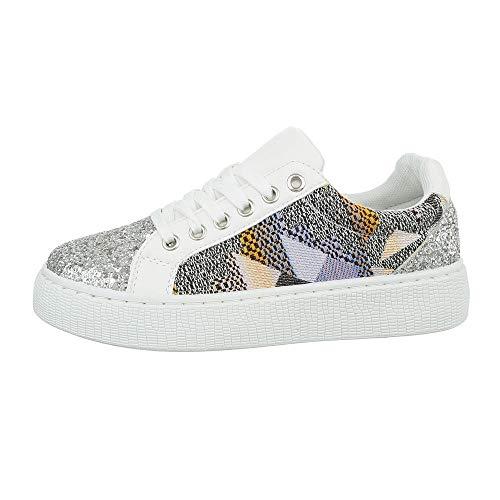 Ital-Design Damenschuhe Freizeitschuhe Sneakers Low Synthetik Weiß Multi Gr. 38