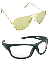 Magjons Fashion Combo Of Baige Aviator And Night Driving Sunglasses